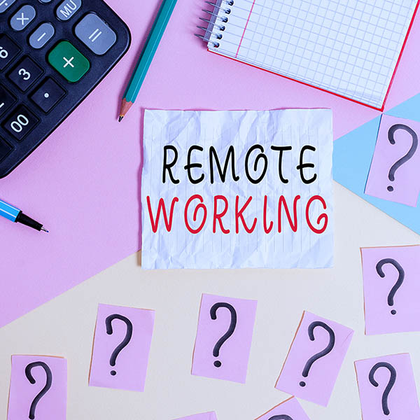 Handwriting text writing Remote Working. Concept meaning situation in which an employee works mainly from home Mathematics stuff and writing equipment above pastel colours background.